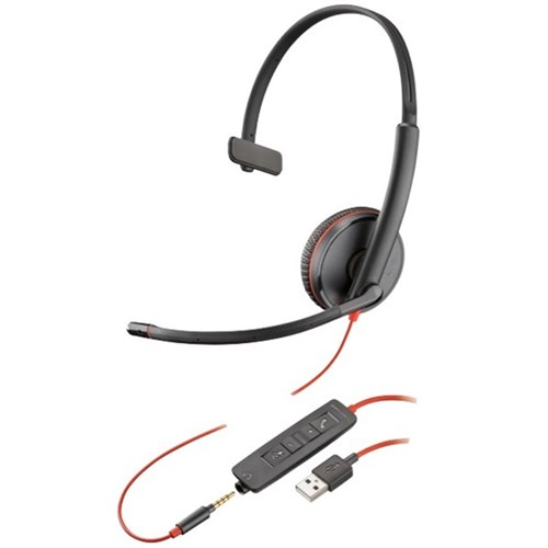 Plantronics Blackwire C3215 UC Wired USB-A Monaural Headset With 3.5mm