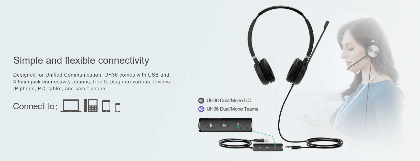 Yealink UH36 Dual Wired USB Headset (Certified For Use with MS Teams)